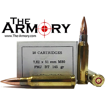308 Winchester (7.62x51mm) M80 145gr FMJBT PPU Ammo Box (20 rds)