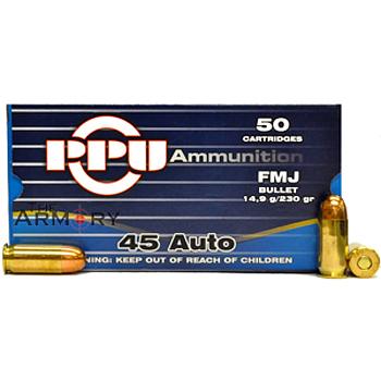 45 ACP (45 Auto) 230gr FMJ PPU Ammo Case (500 rds)