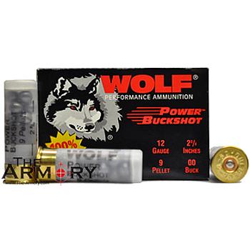 12 GA 2-3/4 00B 9-pellet Wolf Ammo Case (120 rds)