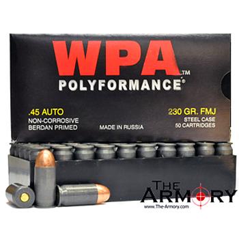 45 ACP (45 Auto) 230gr FMJ Wolf WPA Ammo Case (500 rds)