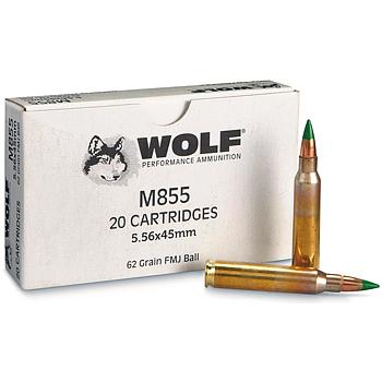 5.56x45mm 62gr FMJ M855 Wolf Ammo Box (20 rds)