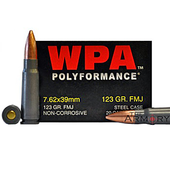 7.62x39 123gr FMJ Wolf WPA Polyformance Ammo Box (20 rds)