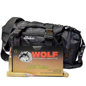 223 55gr FMJ Wolf Gold Ammo - 500rds in The Armory Black Range Bag