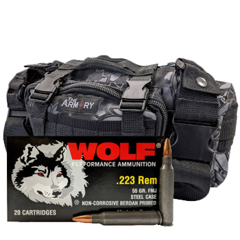 223 Rem 55gr FMJ Wolf Performance Ammo - 500rds in The Armory Black Python Range Bag