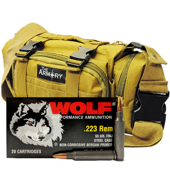 223 Rem 55gr FMJ Wolf Performance Ammo - 500rds in The Armory Tan Range Bag