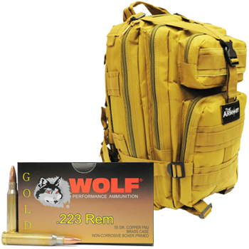 223 Wolf Gold 55gr FMJ - 1000 Rounds in Tan Armory Tactical Backpack
