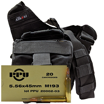 5.56x45mm M193 55gr FMJ PPU Ammo - 280rds in The Armory Black Shoulder Bag