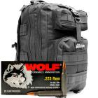 223 Rem 55gr FMJ Wolf Performance Ammo - 500rds in The Armory Black Backpack