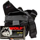 223 Rem 55gr FMJ Wolf Performance Ammo - 280rds in The Armory Black Shoulder Bag
