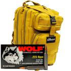 223 Rem 55gr FMJ Wolf Performance Ammo - 500rds in The Armory Tan Backpack