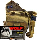 223 Rem 55gr FMJ Wolf Performance Ammo - 280rds in The Armory Tan Shoulder Bag