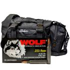 223 Rem 55gr FMJ Wolf Performance Ammo - 500rds in The Armory Black Range Bag