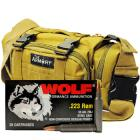 223 Rem 55gr FMJ Wolf Performance Ammo - 280rds in The Armory Tan Range Bag