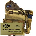 5.56x45mm M193 55gr FMJ PPU Ammo - 280rds in The Armory Tan Shoulder Bag