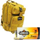 The Armory Tan Backpack with 500 Rounds of Armscor High Velocity 22LR Ammo
