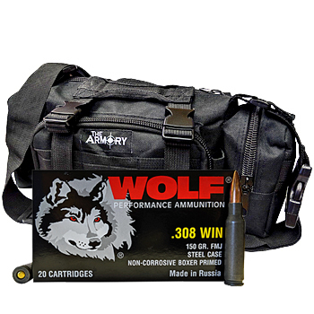 308 Winchester 150gr FMJ Wolf Performance Ammo - 200rds in The Armory Black Range Bag
