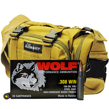 308 Winchester 150gr FMJ Wolf Performance Ammo - 200rds in The Armory Tan Range Bag