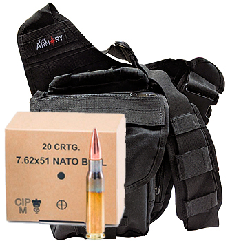 308 Win (7.62x51mm) NATO Ball 147gr FMJ GGG Ammo - 240rds in The Armory Black Shoulder Bag