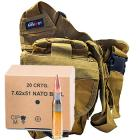 308 Win (7.62x51mm) NATO Ball 147gr FMJ GGG Ammo - 240rds in The Armory Tan Shoulder Bag