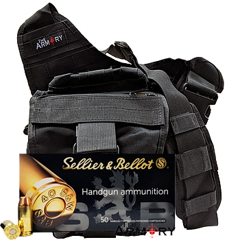 40 S&W 180gr FMJ Sellier & Bellot Ammo - 350rds in The Armory Black Shoulder Bag