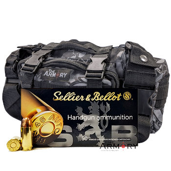 45 ACP 230gr FMJ Sellier & Bellot Ammo - 350rds in The Armory Black Python Range Bag