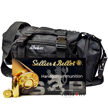 45 ACP 230gr FMJ Sellier & Bellot Ammo - 350rds in The Armory Black Range Bag