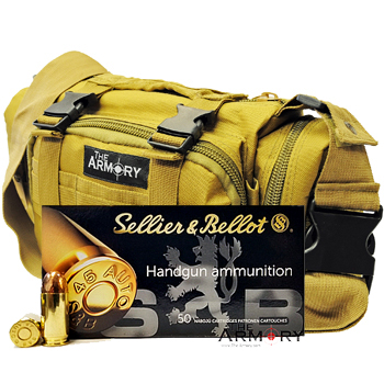 45 ACP 230gr FMJ Sellier & Bellot Ammo - 350rds in The Armory Tan Range Bag
