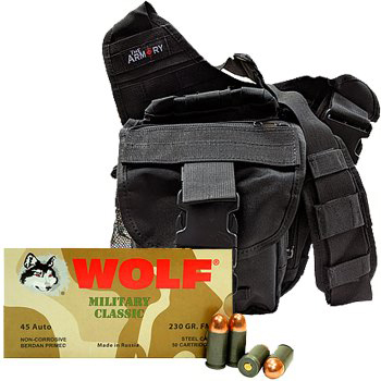 45 ACP 230gr FMJ Wolf MC Ammo - 200rds in The Armory Black Shoulder Bag