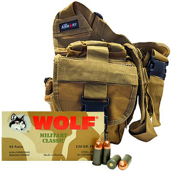 45 ACP 230gr FMJ Wolf MC Ammo - 200rds in The Armory Tan Shoulder Bag