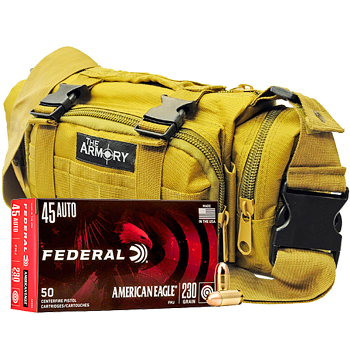 45 ACP (45 Auto) 230gr FMJ Federal American Eagle Ammo - 350 Rounds in The Armory Tan Range Bag