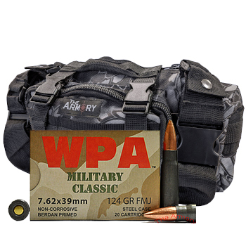 7.62x39 124gr FMJ Wolf WPA Military Classic Ammo - 200rds in The Armory Black Python Range Bag