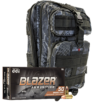 9mm 115gr FMJ CCI Blazer Brass Ammo - 500rds in The Armory Black Python Backpack