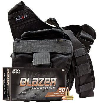 9mm 115gr FMJ CCI Blazer Brass Ammo - 500rds in The Armory Black Shoulder Bag