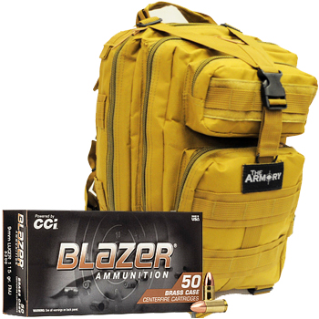 9mm 115gr FMJ CCI Blazer Brass Ammo - 500rds in The Armory Tan Backpack