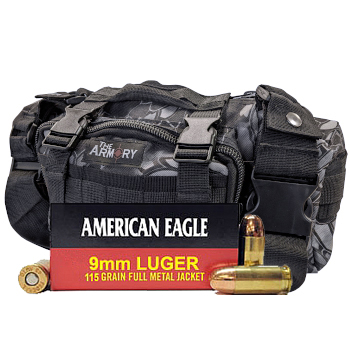 9mm 115gr FMJ American Eagle Ammo - 500rds in The Armory Black Python Range Bag