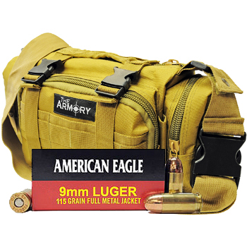 9mm 115gr FMJ American Eagle Ammo - 350rds in The Armory Tan Range Bag