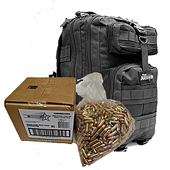 9mm 115gr FMJ Federal Independence Ammo - 1000rds in The Armory Black Backpack
