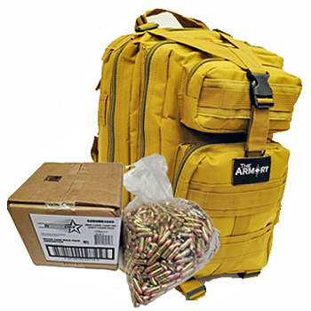 9mm 115gr FMJ Federal Independence Ammo - 1000rds in The Armory Tan Backpack