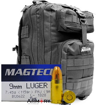 9mm 115gr FMJ Magtech Ammo - 500rds in The Armory Black Backpack