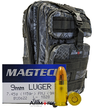 9mm 115gr FMJ Magtech Ammo - 500rds in The Armory Black Python Backpack