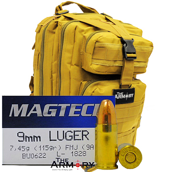 9mm 115gr FMJ Magtech Ammo - 500rds in The Armory Tan Backpack