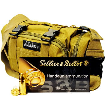 9mm 124gr FMJ S&B Ammo - 200rds in The Armory Tan Range Bag