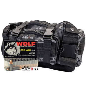 9mm 115gr FMJ Wolf Performance Ammo - 200rds in The Armory Black Python Range Bag