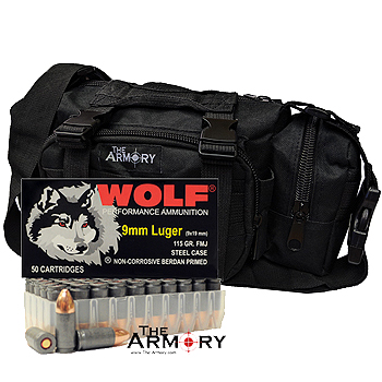 9mm 115gr FMJ Wolf Performance Ammo - 500rds in The Armory Black Range Bag