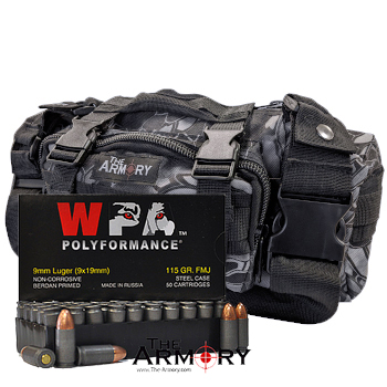 9mm 115gr FMJ Wolf Polyformance Ammo - 200rds in The Armory Black Python Range Bag