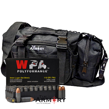 9mm 115gr FMJ Wolf Polyformance Ammo - 200rds in The Armory Black Range Bag