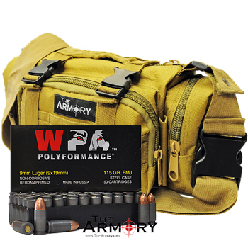 9mm 115gr FMJ Wolf Polyformance Ammo - 500rds in The Armory Tan Range Bag