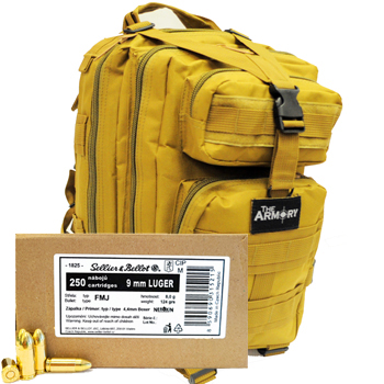 9mm Luger (9x19mm) 124gr FMJ Sellier & Bellot Ammo - 500rds in The Armory Tan Backpack