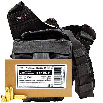 9mm Luger (9x19mm) 124gr FMJ Sellier & Bellot Ammo - 250rds in The Armory Black Shoulder Bag