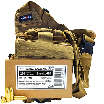 9mm Luger (9x19mm) 124gr FMJ Sellier & Bellot Ammo - 250rds in The Armory Tan Shoulder Bag